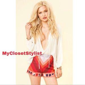 NOVELLA ROYALE Blush Geo Betsy Shorts XS Hot Pants